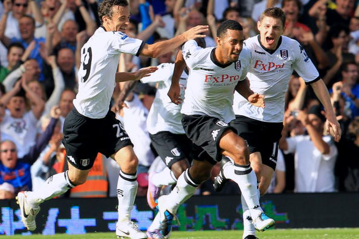 Moussa Dembele for Fulham against Wolverhampton. Photo via Getty Images
