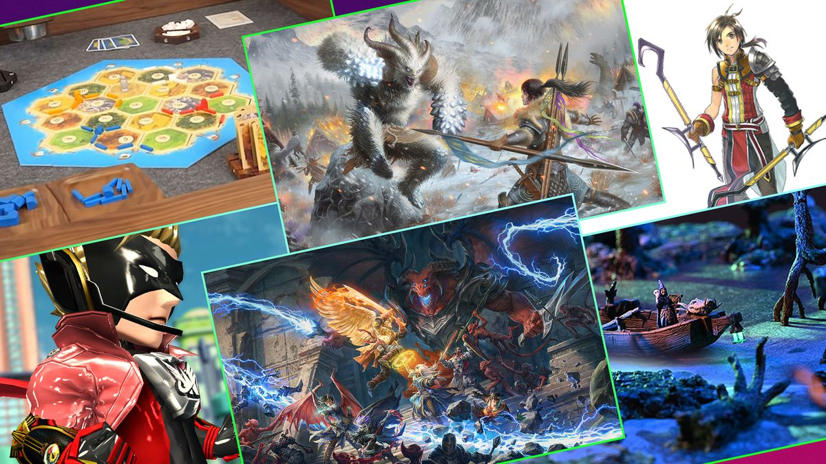 Graphic grid featuring art images of six different Kickstarter gaming projects