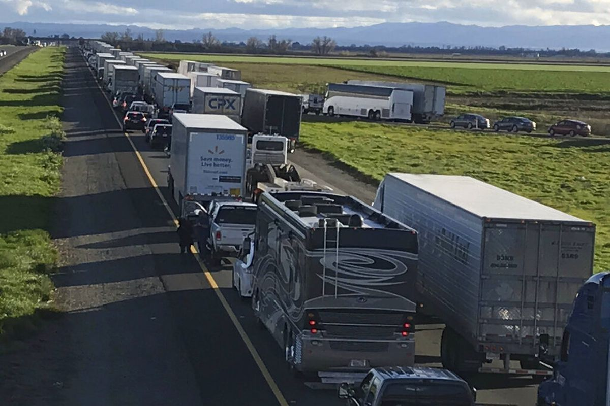 7-mile back up on the South bound Interstate 5, as it reopens to traffic in Maxwell in Colusa County, Calif.