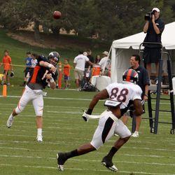 Quarterback Peyton Manning throws to WR Demaryius Thomas