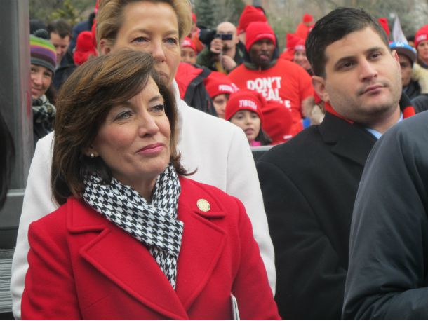 """Lt. Gov. Kathy Hochul attends the """"Don't Steal Possible"""" rally."""