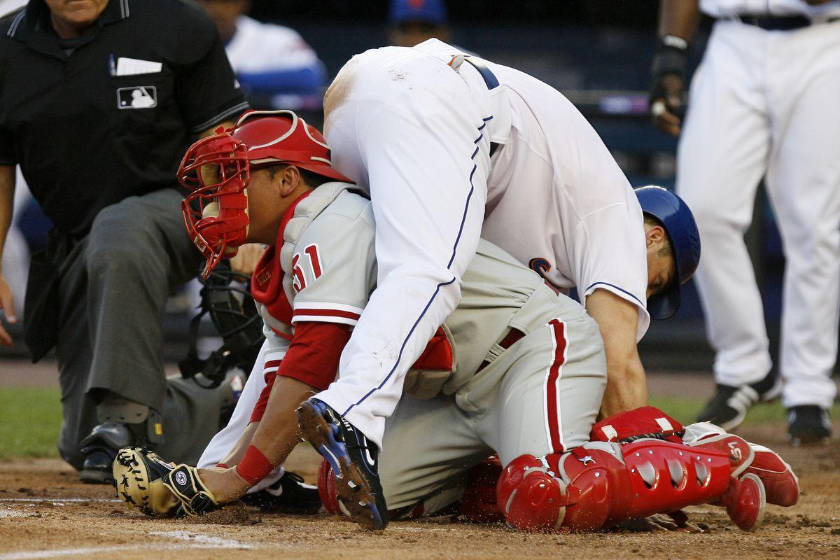 New York Mets' David Wright tumbles over Philadelphia Philli