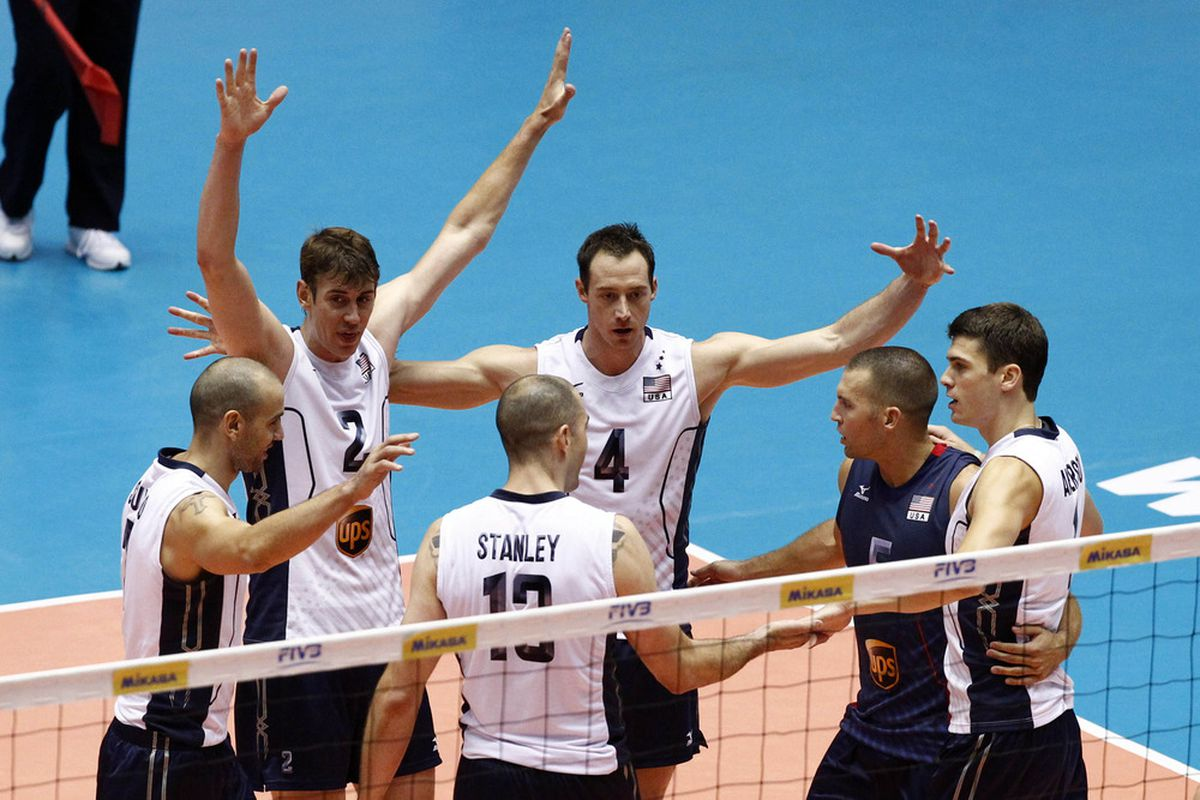 July 1, 2012; Dallas, TX, USA; Team USA players celebrate after a point against Italy during the World League volleyball game at the Dallas Convention Center in Dallas. Mandatory Credit: Jim Cowsert-US PRESSWIRE