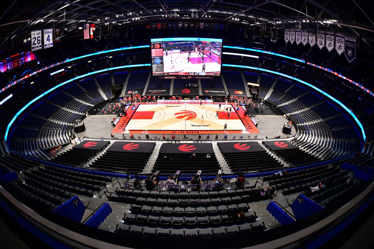A general view of Amalie Arena during the third quarter of a basketball game between the Toronto Raptors and the Minnesota Timberwolves on February 14, 2021 in Tampa, Florida.