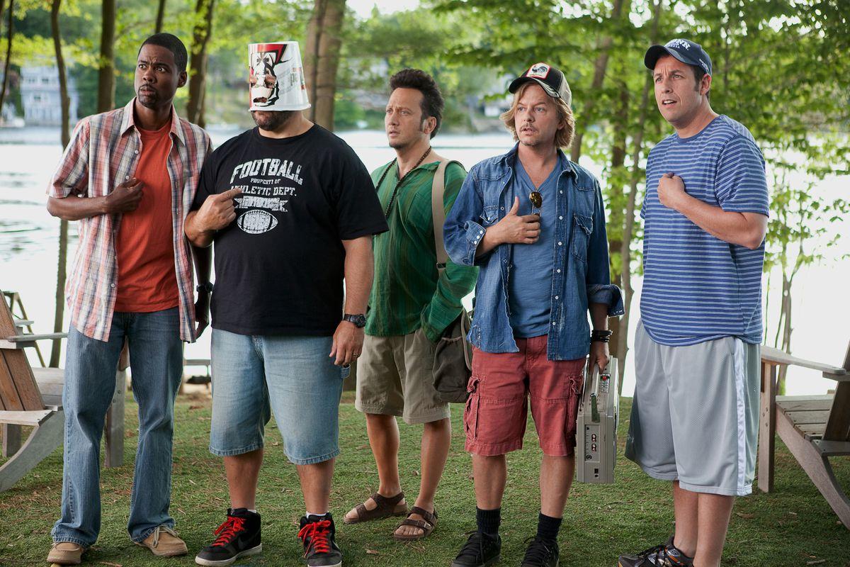 Chris Rock, Kevin James, Rob Schneider, David Spade, and Adam Sandler in Grown Ups