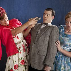 """Wanda Copier, Cameron Garner and Meikjen Pace in  Rodgers Memorial Theatre's production of """"Lucky Stiff."""""""