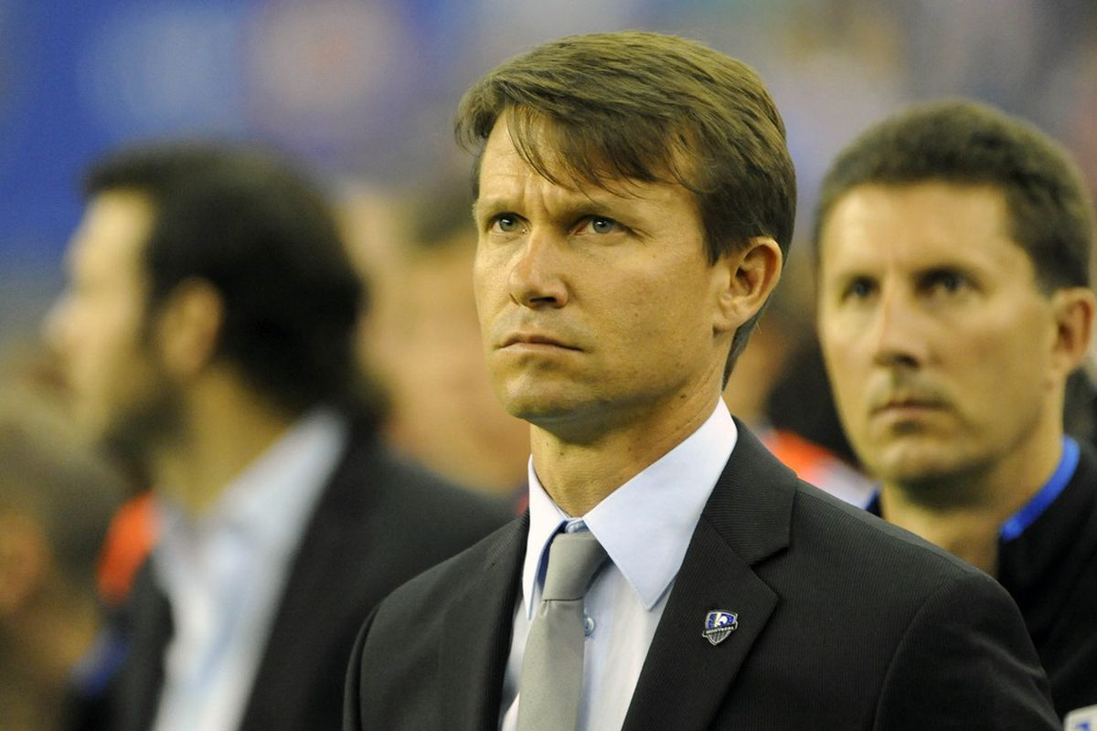 May 12, 2012; Montreal, QC, Canada; Montreal Impact head coach Jesse Marsch during the first half of the game against the Los Angeles Galaxy at the Olympic Stadium.  Mandatory Credit: Eric Bolte-US PRESSWIRE