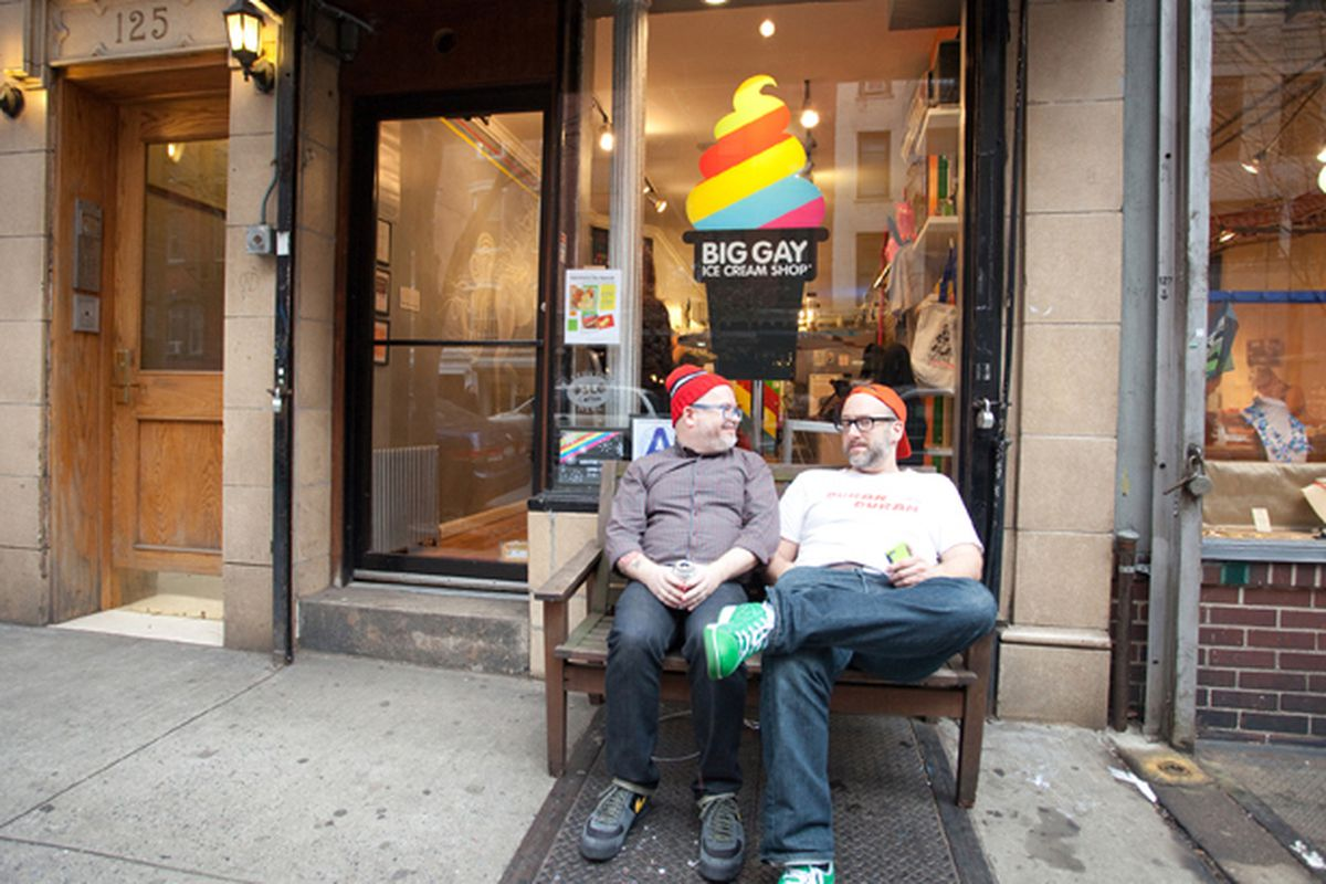 Quint and Petroff outside their East Village shop.