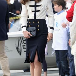 Wearing a much-repeated Alexander McQueen nautical-inspired outfit for Portsmouth sailing charity on Friday, May 20th, 2016