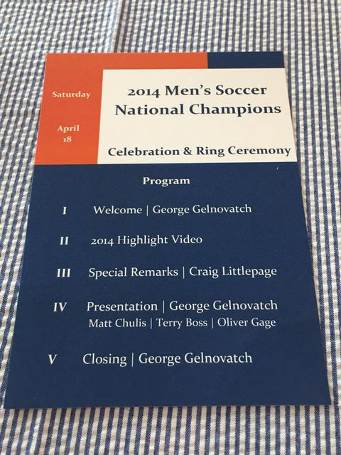 Virginia Men's Soccer National Championship Ring Ceremony