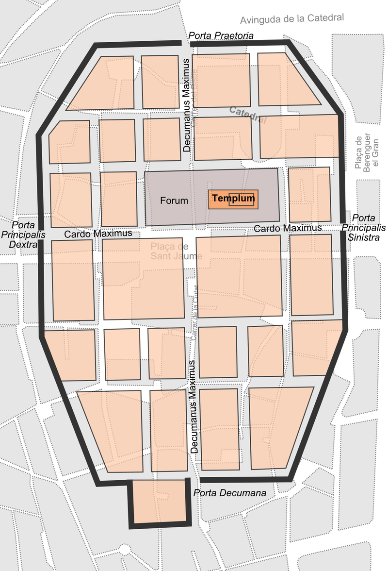 Barcino, sketched in its original location over a map of Barcelona's current Gothic Quarter.