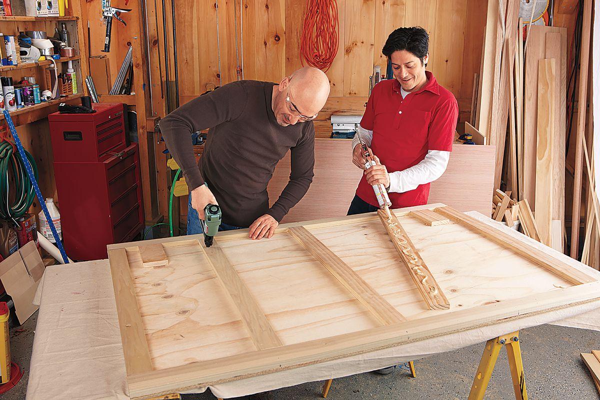 Men Building Sides Of DIY Bar