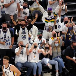 Fans erupt after Utah Jazz forward Georges Niang (31) hit a three point shot as the Utah Jazz and the Memphis Grizzlies play in game one of their NBA playoff series at Vivint Arena in Salt Lake City on Sunday, May 23, 2021. Memphis won 112-109.