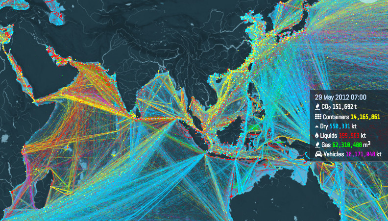This is an incredible visualization of the world's shipping
