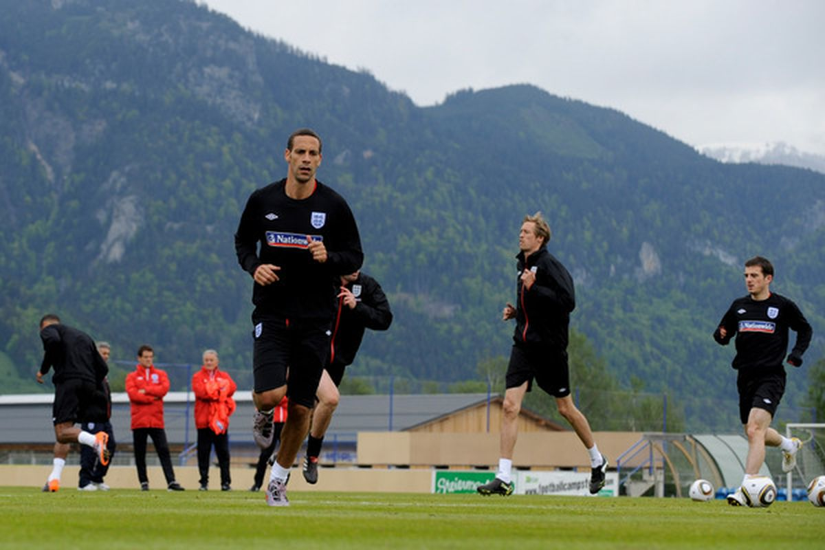 IRDNING, AUSTRIA - MAY 19: Rio Ferdinand warms up during an England training session on May 19, 2010 in Irdning, Austria.  (Photo by Michael Regan/Getty Images)