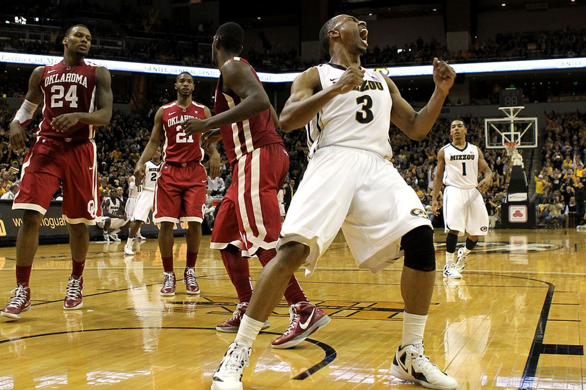 COLUMBIA, MO - JANUARY 03:  Matt Pressey #3  of the Missouri Tigers celebrates after a dunk during the game against the Oklahoma Sooners on January 3, 2012 at Mizzou Arena in Columbia, Missouri.  (Photo by Jamie Squire/Getty Images)