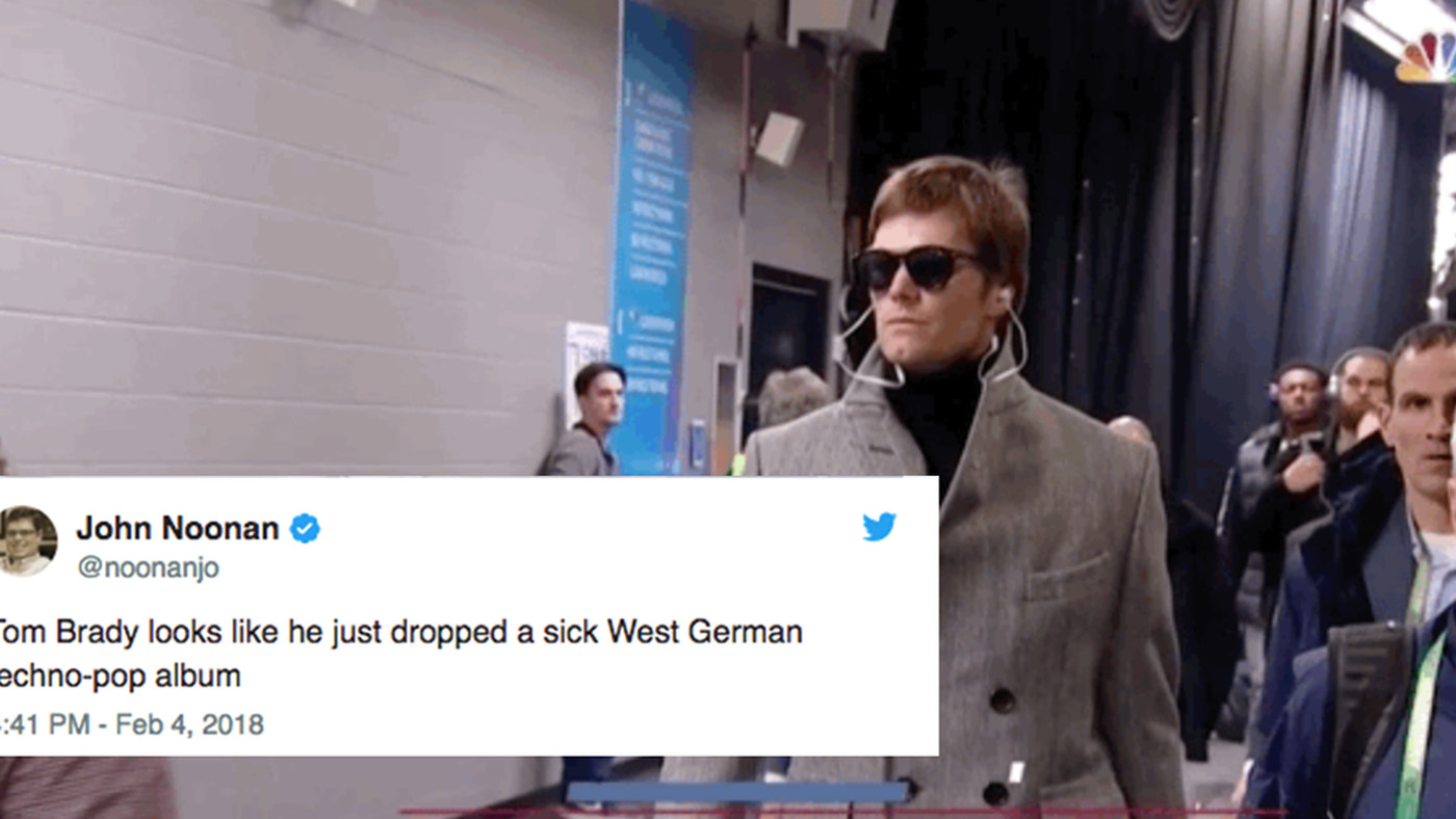 84dd2a205d The 11 funniest tweets about Tom Brady s Super Bowl walk-in outfit -  SBNation.com