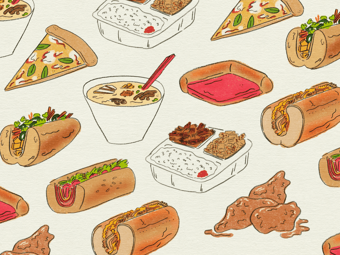 an illustration of hoagies, cheesesteaks, pizza, ramen, and tempeh in a repeating pattern