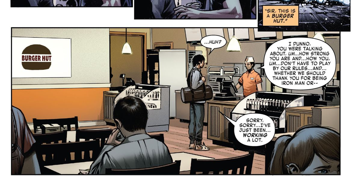 """""""Sir, this is a Burger Hut,"""" a cashier says to Tony Stark, who is standing in a Burger Hut in bunny slippers, in Iron Man #3, Marvel Comics (2020)."""