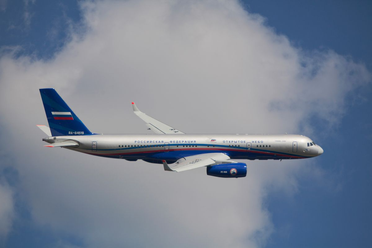 Russian plane in the sky.