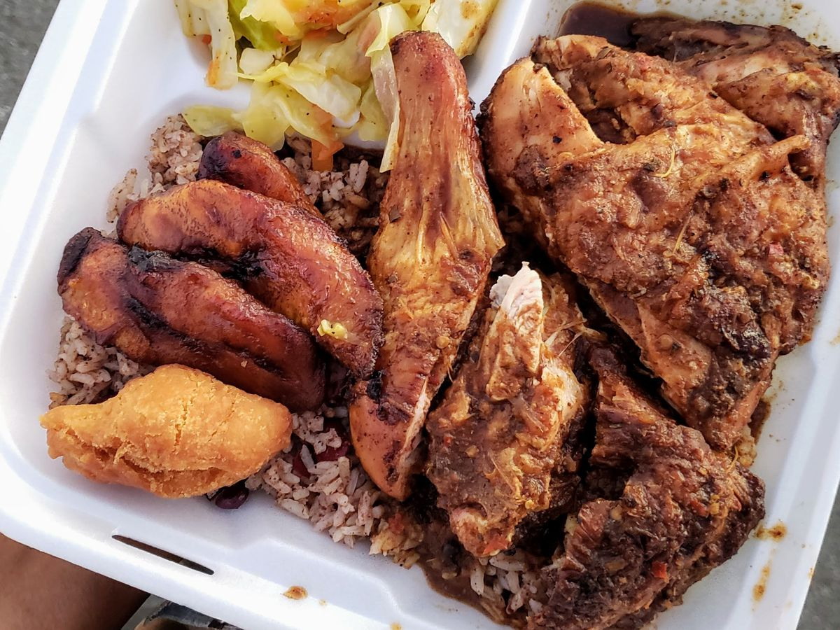 Jerk chicken platter from Country Style JamaicanCountry Style in Inglewood.