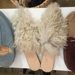 Brother Vellies white Shearling Sister mule, $215