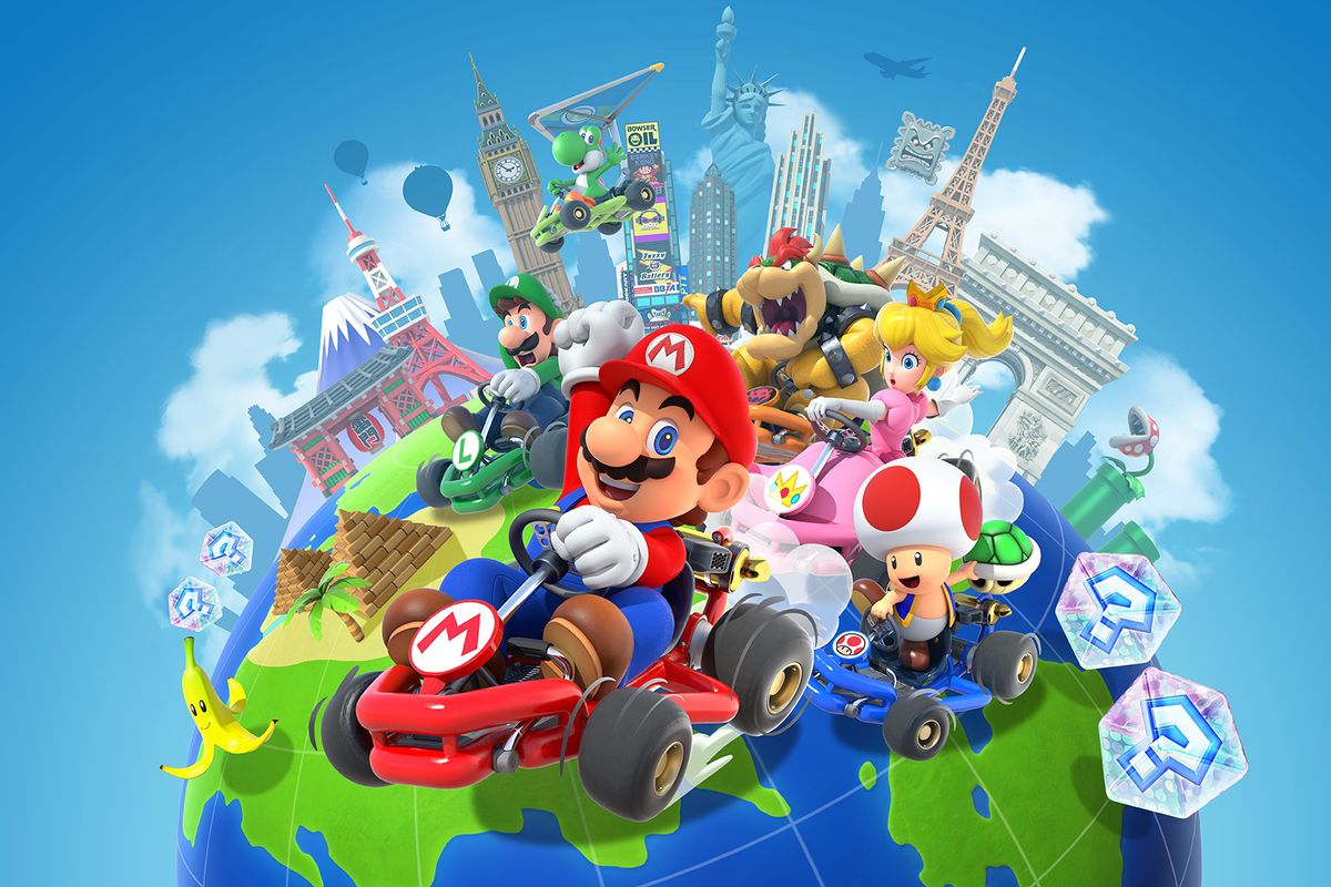 Artwork of Mario, Toad, Peach, Luigi, and other characters riding on a globe from Mario Kart Tour