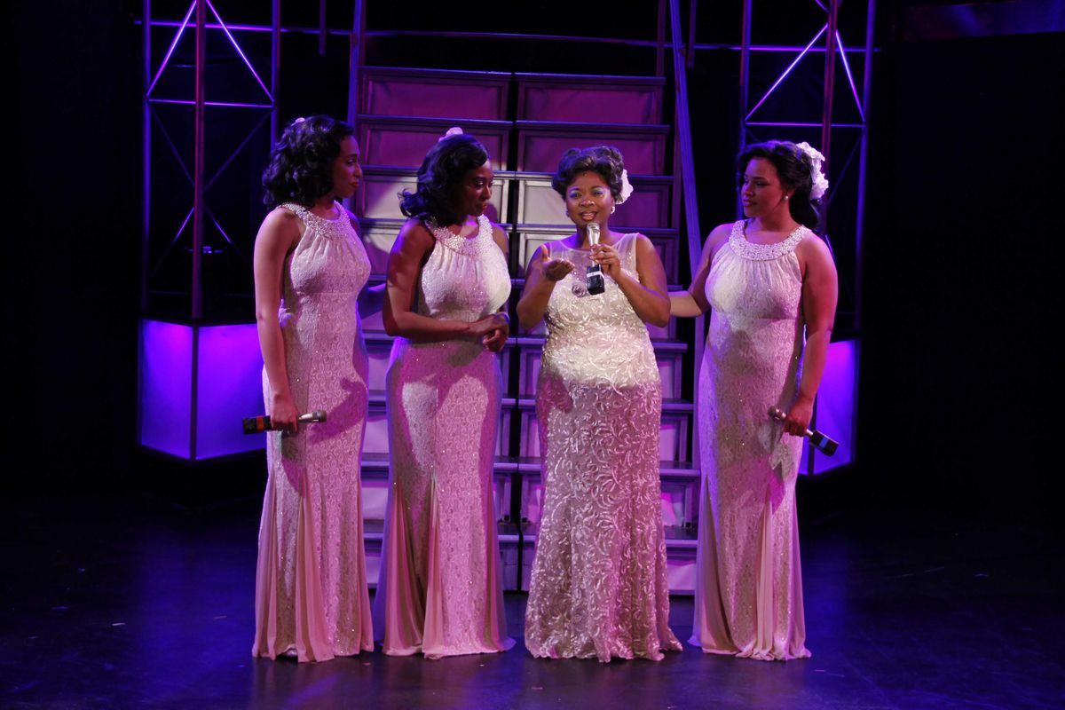 """Porchlight Music Theatre's """"Dreamgirls,"""" with Kyrie Courter (from left), Candace C. Edwards, Donica Lynn and Katherine Thomas. (Photo: Kelsey Jorissen)"""