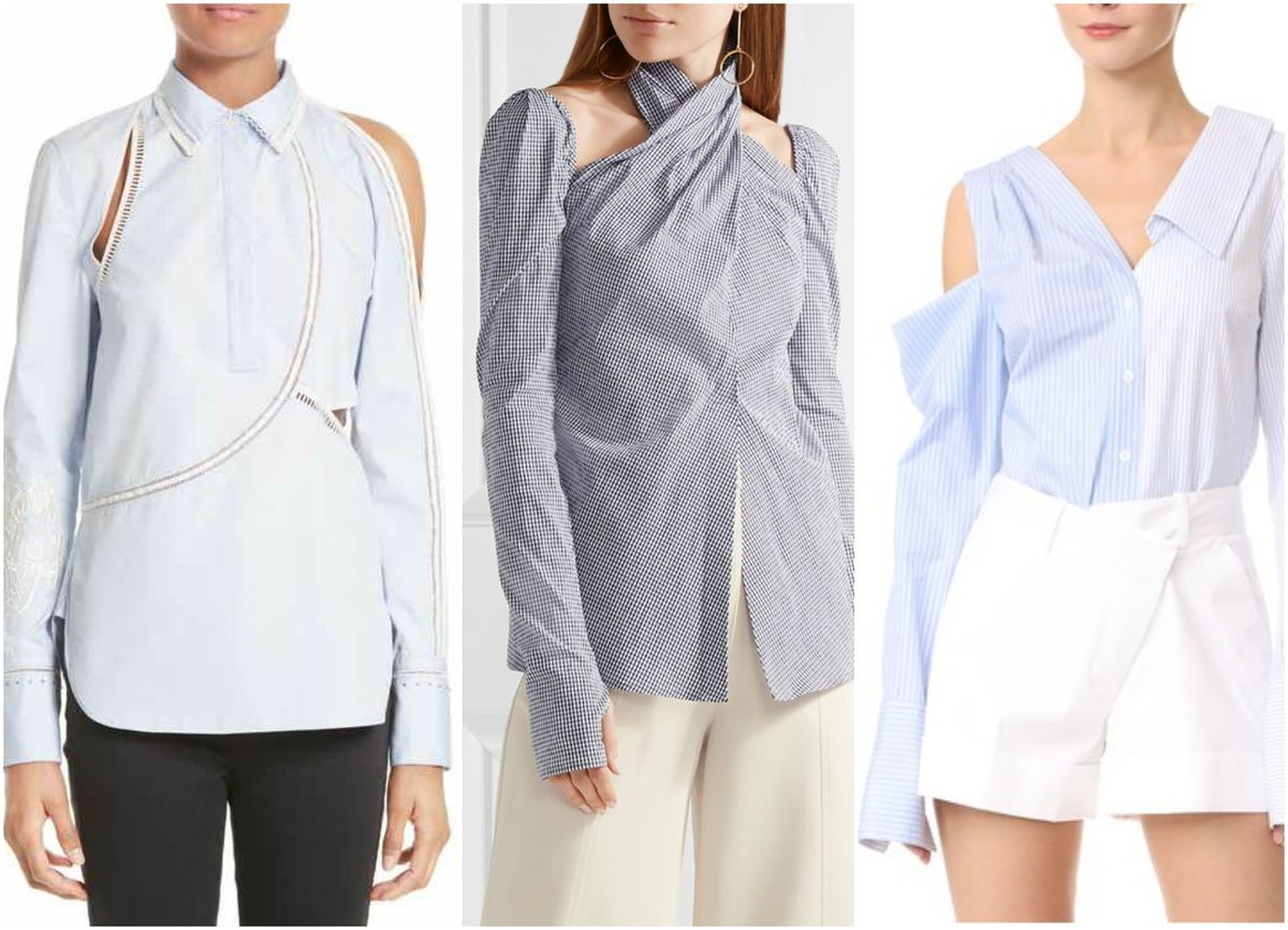 8ed36f82efc 3.1 Phillip Lim Victoriana Embroidered Blouse, $475; Rosie Assoulin Cutout  Gingham Seersucker Top, $995; Monse One Shoulder Top, $1,090
