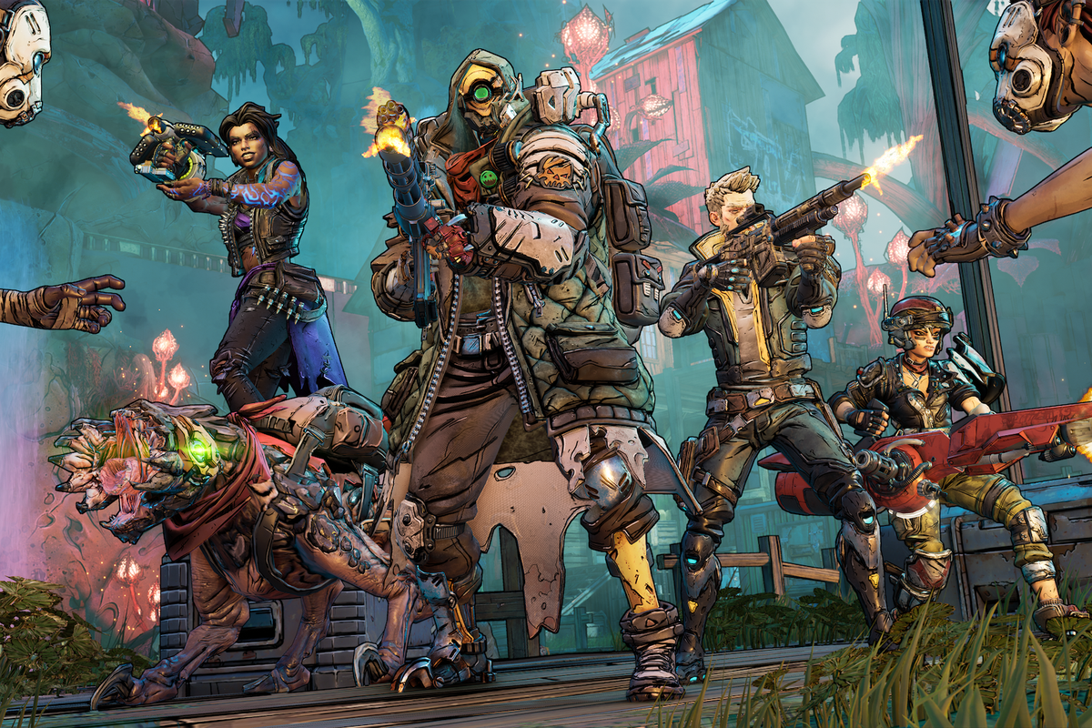 the four vault hunters in Borderlands 3 line up, showing off their powers
