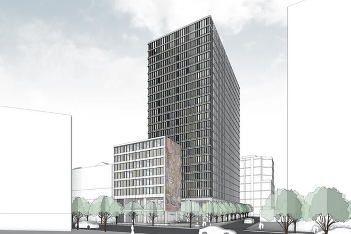 Rendering of the proposed 21-story hotel on Second Street.