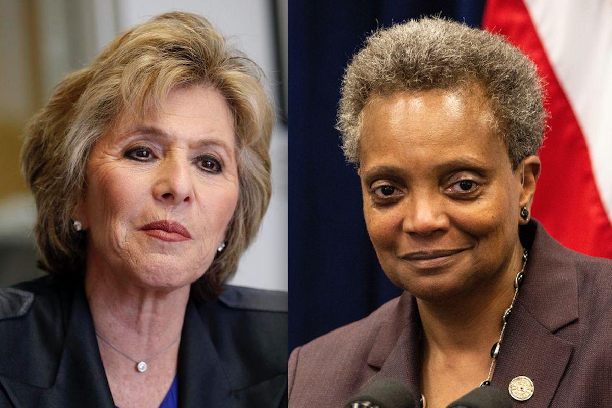 Former Sen. Barbara Boxer, left; Mayor Lori Lightfoot, right.