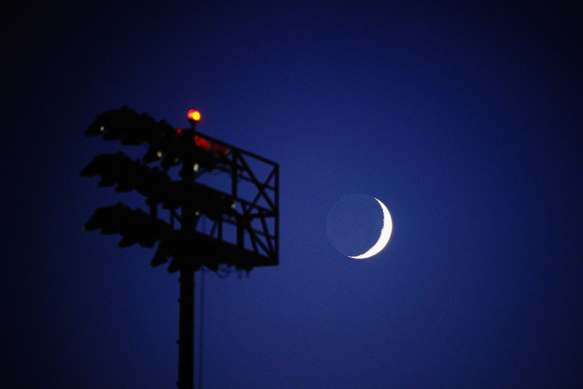 CARSON, CA - AUGUST 31:  A crescent moon is seen over the soccer fields of Home Depot Center where the US Men's National Team practiced on August 31, 2011 in Carson, California.  (Photo by Kevork Djansezian/Getty Images)