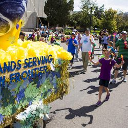 """The """"Small Hands Serving the New Frontier"""" float is pictured during the Days of '47 Union Pacific Railroad Youth Parade held Saturday, July 18, 2015, in Salt Lake City."""