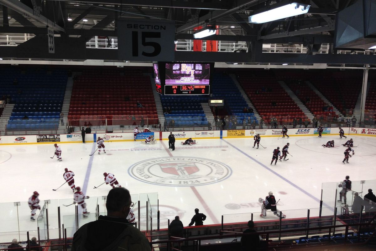 RPI and Harvard players warm up prior to their game at the Houston Field House on October 29, 2013.