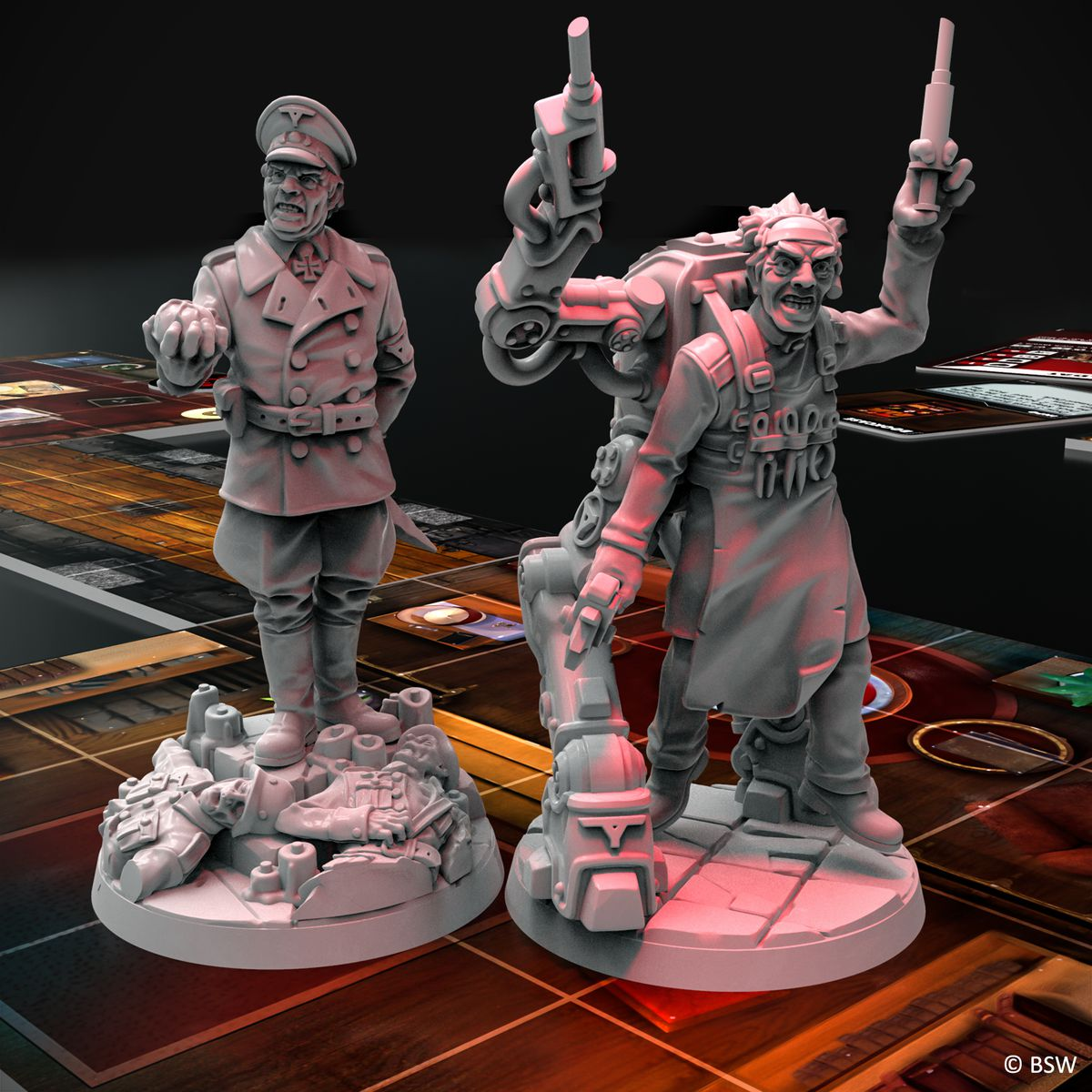 General Von Grimm and Prof. Bevli in miniature form. Grimm stands atop a pyre of desicated Nazi soldiers, while Bevli has a backpack with legs.