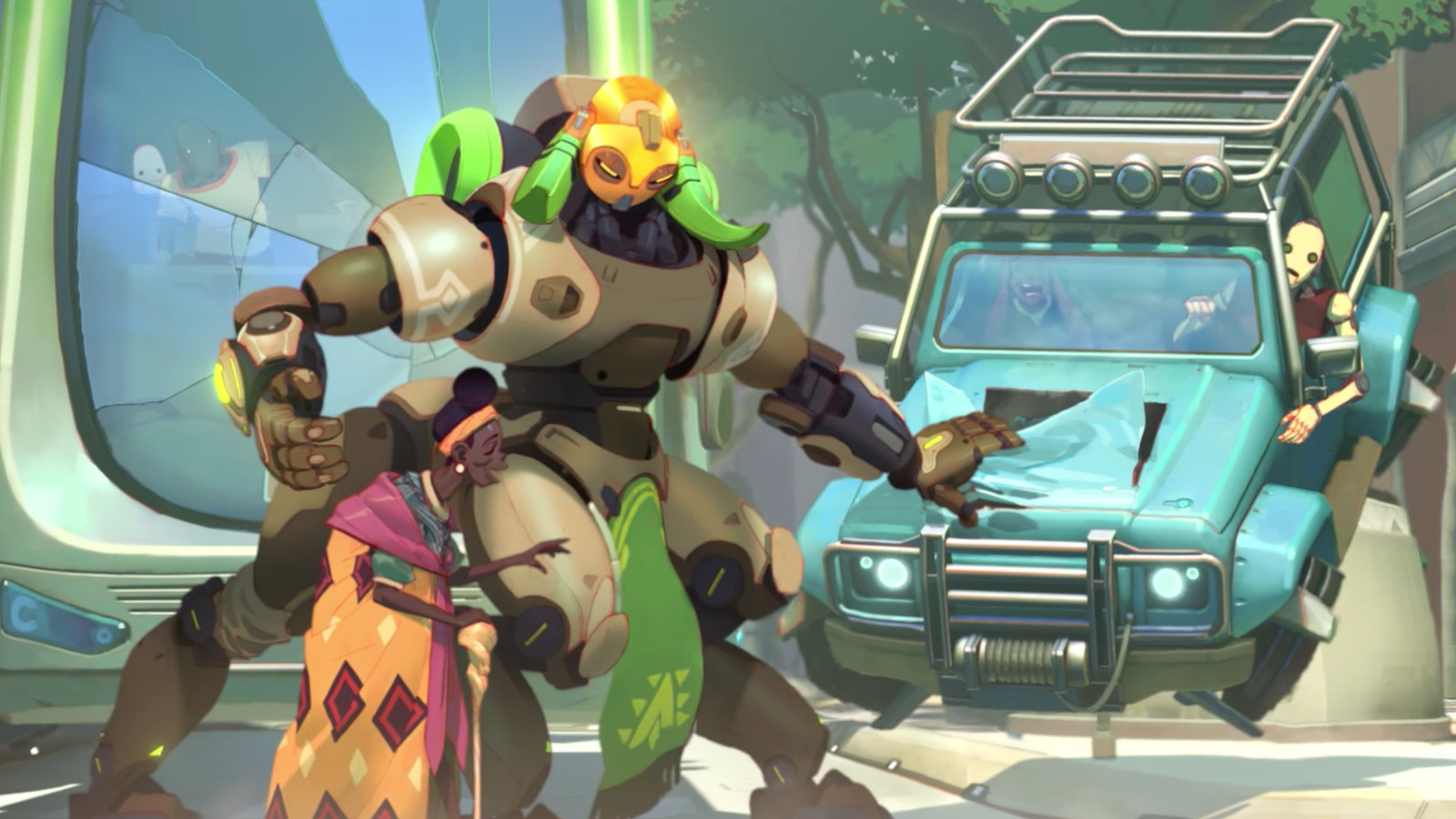 overwatch u2019s new hero orisa  all her skins  emotes and