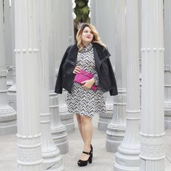 """Blouse in black/sour cream """"Scratchy Plaid,"""" $27.99; textured fit & flare dress in cream/black chevron only at Target.com; $27.99; moto jacket in black, $44.99"""