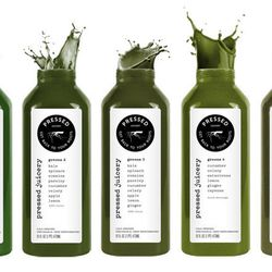 """Pressed Juicery Greens six-pack sampler, <a href=""""http://www.pressedjuicery.com/products/samplers"""">$45</a>"""