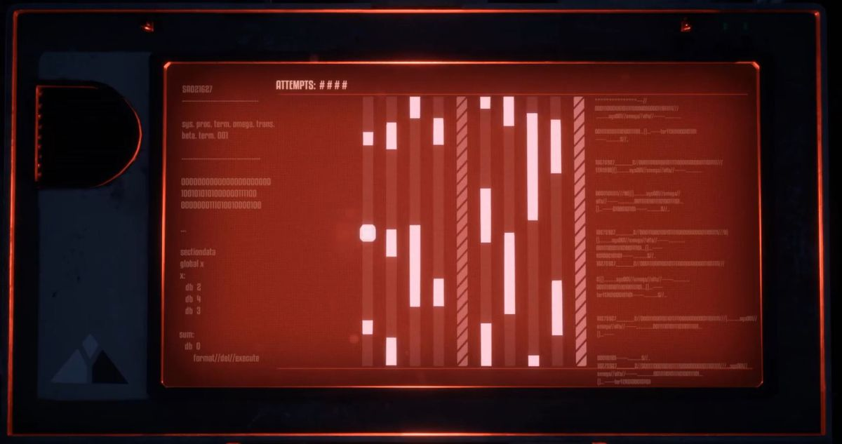 A line of vertical barriers on the screen, with a waypoint in the middle, have to be navigated by a white pip on a red background.