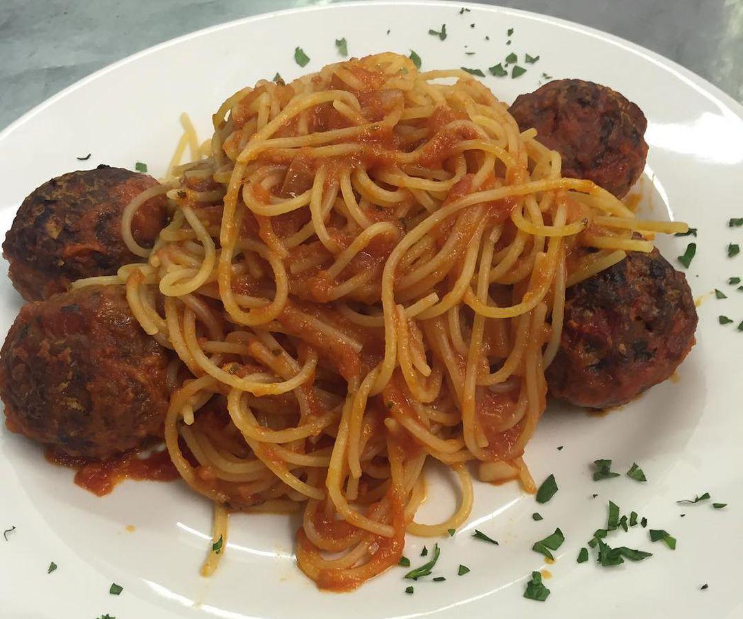 Spaghetti and meatballs at Ciao Bella, a classic Italian London restaurant