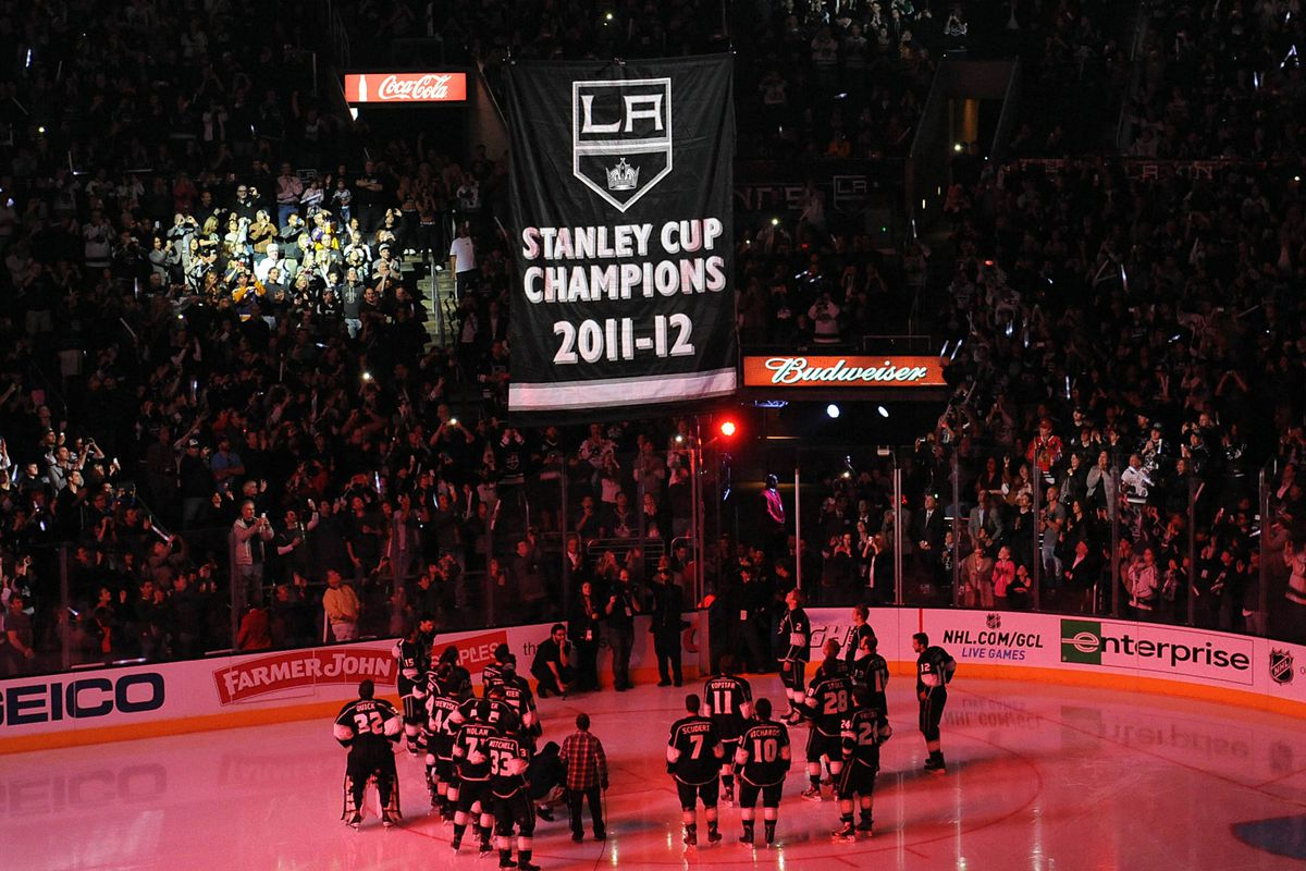 The L.A. Kings raised their Stanley Cup Champions Banner Saturday