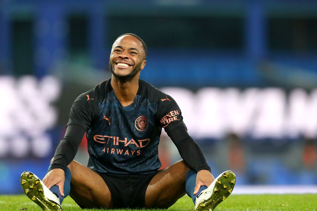 Raheem Sterling of Manchester City reacts during the FA Cup Quarter Final match between Everton and Manchester City at Goodison Park on March 20, 2021 in Liverpool, England.