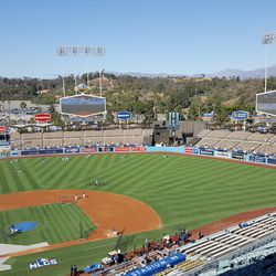 Overview of Dodger Stadium during BP before Game 4