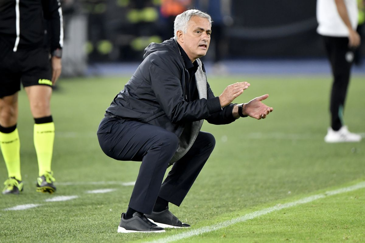 Jose Mourinho coach of AS Roma reacts during the Serie A...