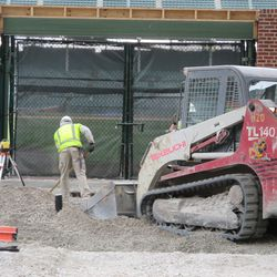 2:42 p.m. Working in front of Gate Q on Sheffield -