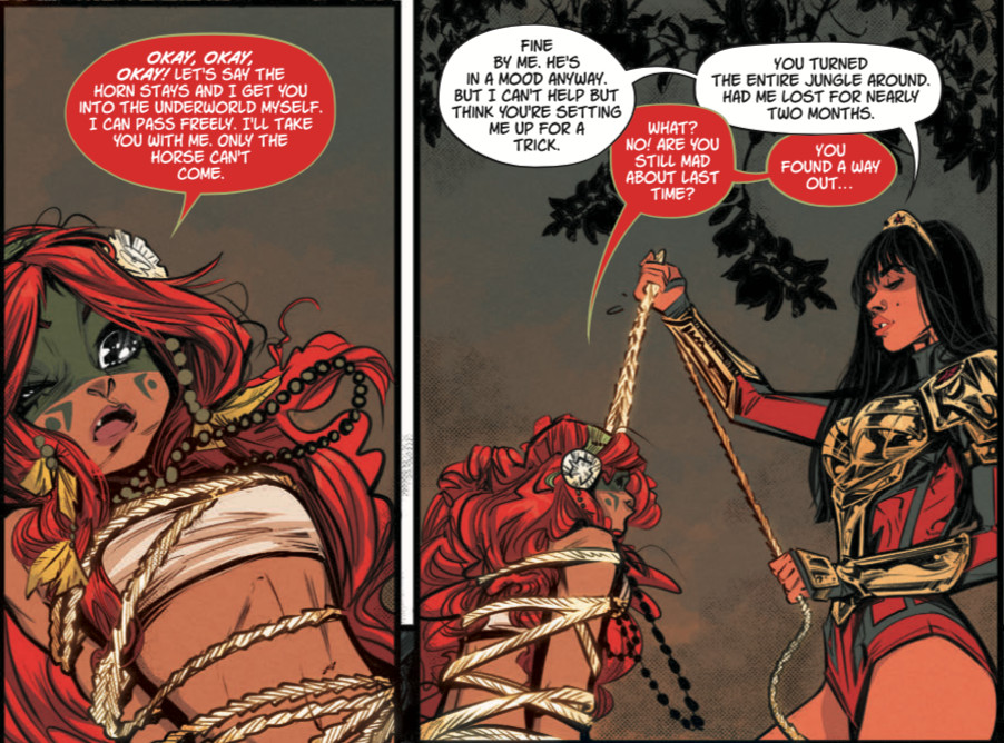 Yara Flor ropes Caipora, a tiny redheaded nymph girl who apologizes for trying to kill the new Wonder Woman