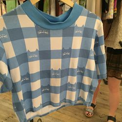Lazy Oaf's cat gingham crop tee ($32.50)