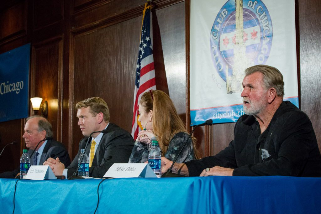 Attorney Thomas Demetrio (left), Chris Nowinski, Liz Nicholson and Mike Ditka were on the panel on NFL concussions at the City Club of Chicago on Monday. | Santiago Covarrubias/Sun-Times