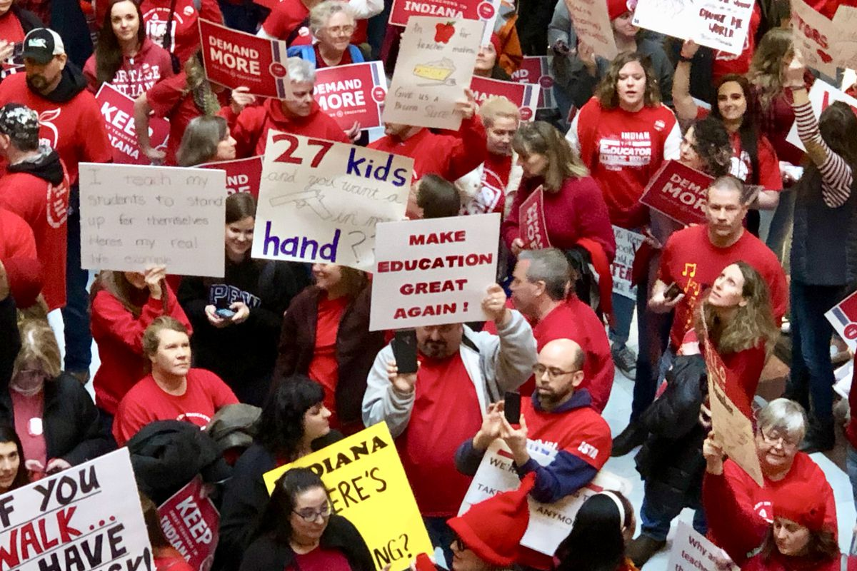 More than 1,000 teachers and their supporters from across Indiana gathered at the state Capitol on Saturday afternoon at a rally hosted by the Indiana State Teachers Association on March 9, 2019.